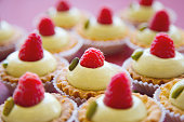 Homemade round tartlets with fresh raspberry