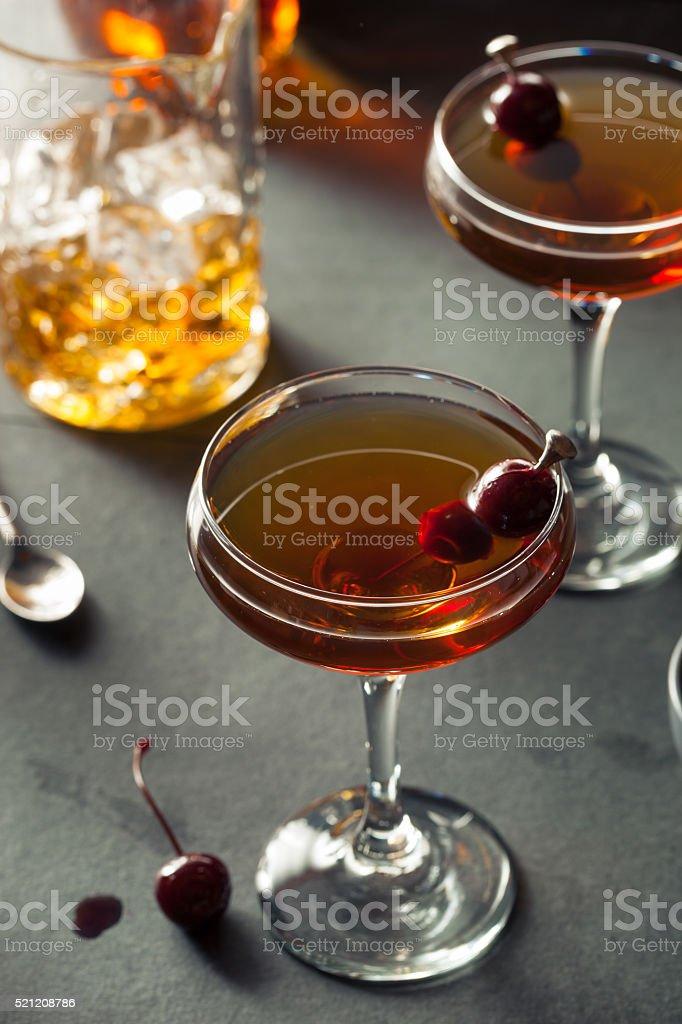 Homemade Rye Bourbon Manhattan stock photo