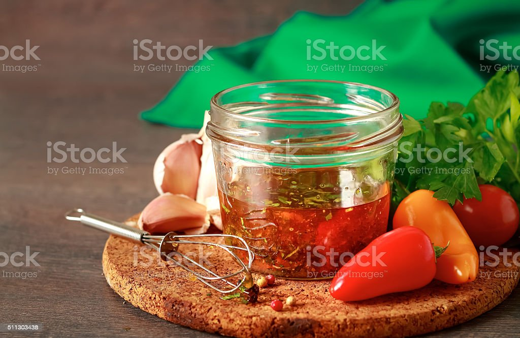 Homemade salad dressing stock photo