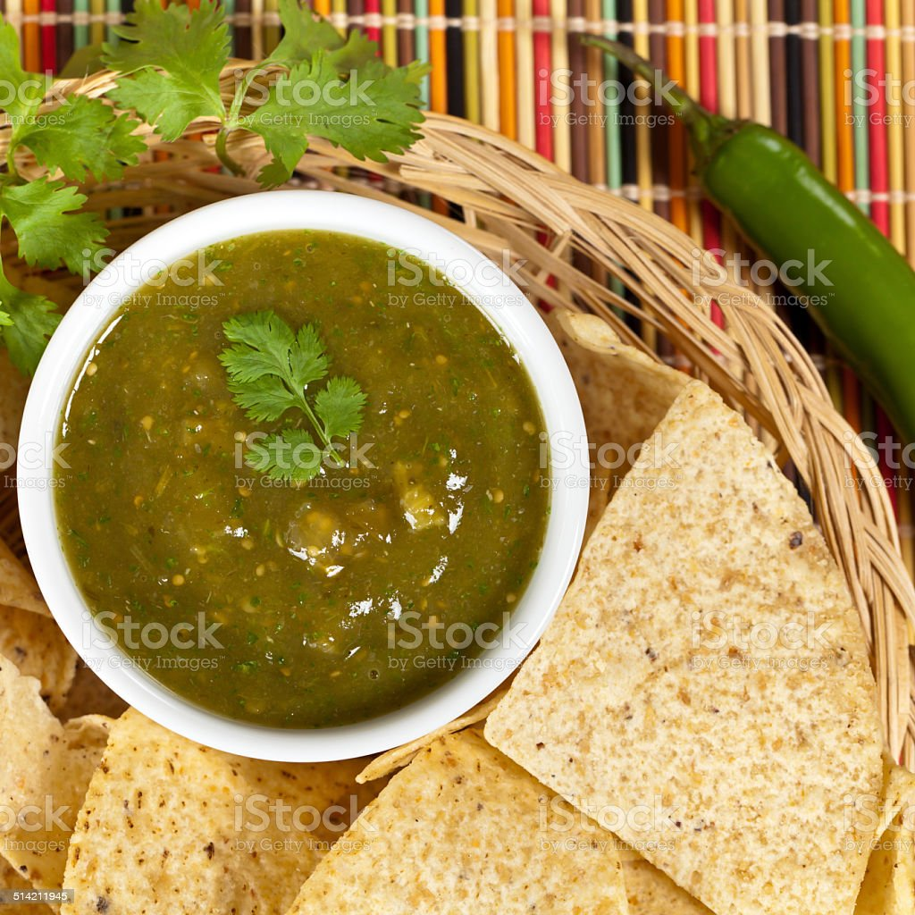 Homemade Salsa Verde stock photo