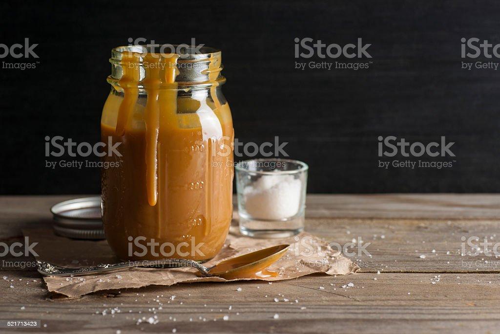 Homemade Salted Caramel Sauce stock photo