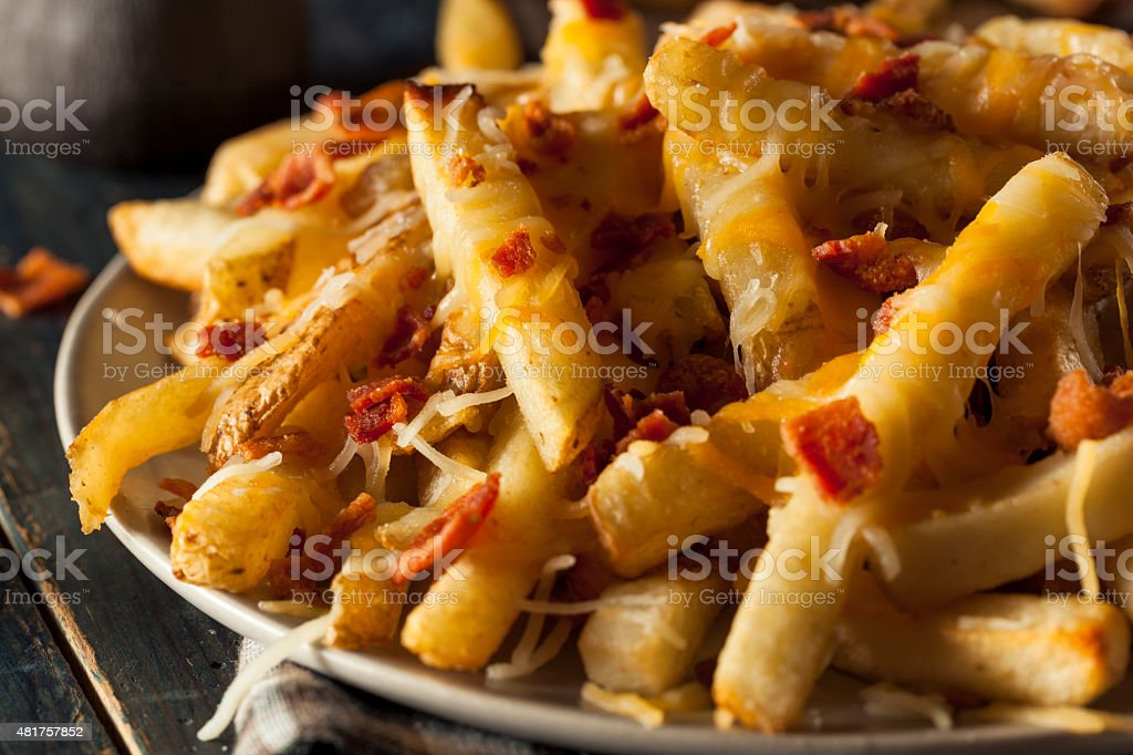 Homemade Salty Cheese French Fries stock photo