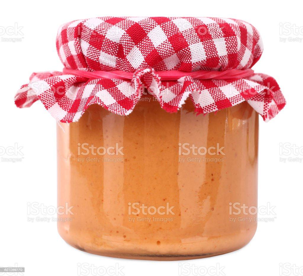 Homemade sauce in jar stock photo