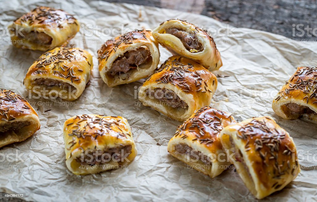 Homemade sausage rolls stock photo