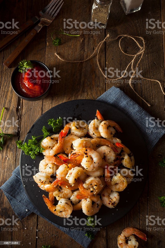 Homemade Sauteed Shrimp with Herbs stock photo