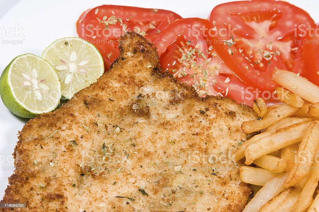 Homemade schnitzel stock photo