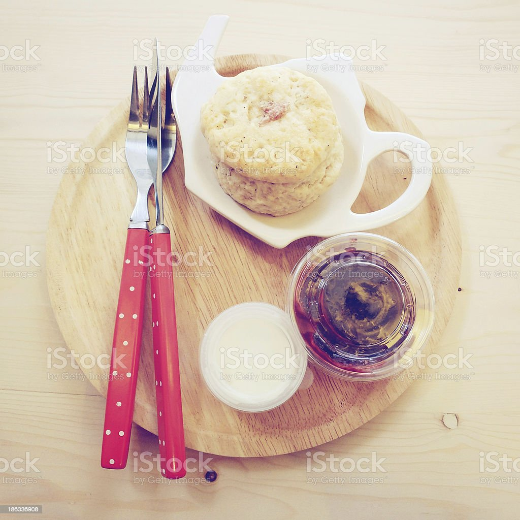 Homemade scone with strawberry jam royalty-free stock photo