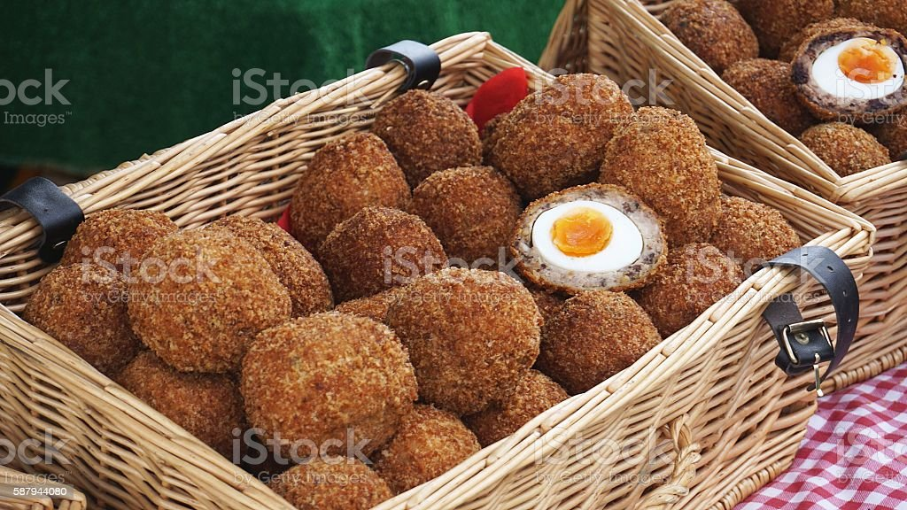 Homemade Scotch eggs in the basket stock photo
