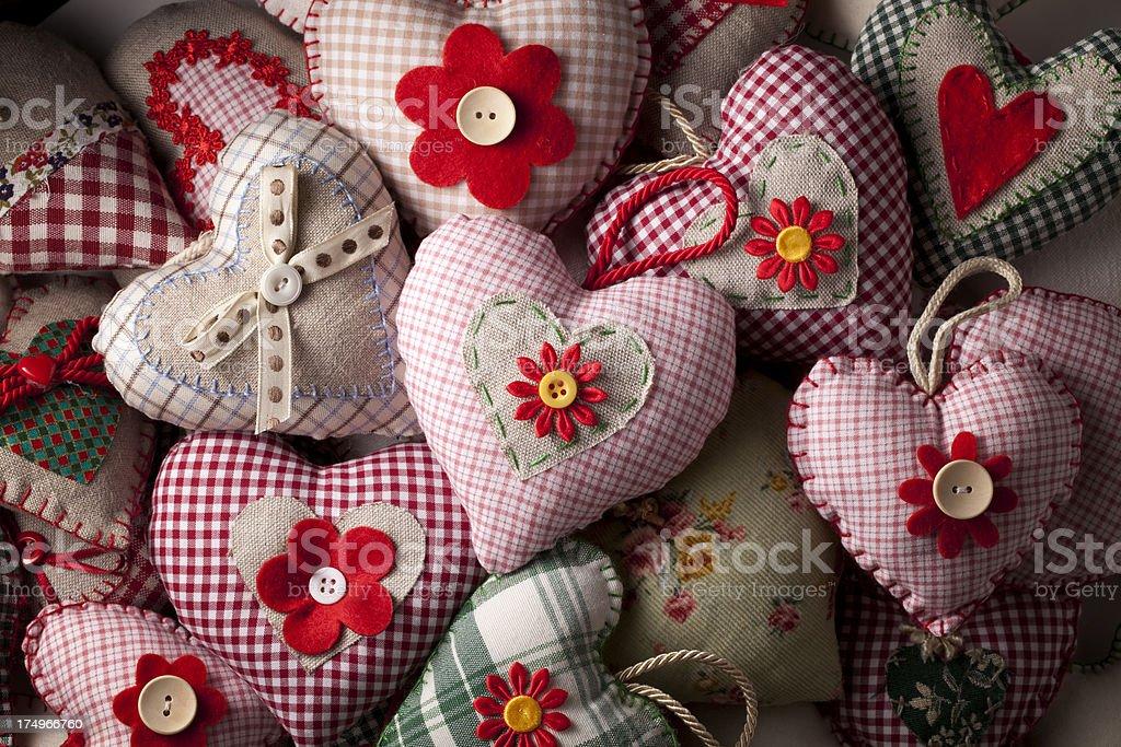 Homemade sewn hearts royalty-free stock photo