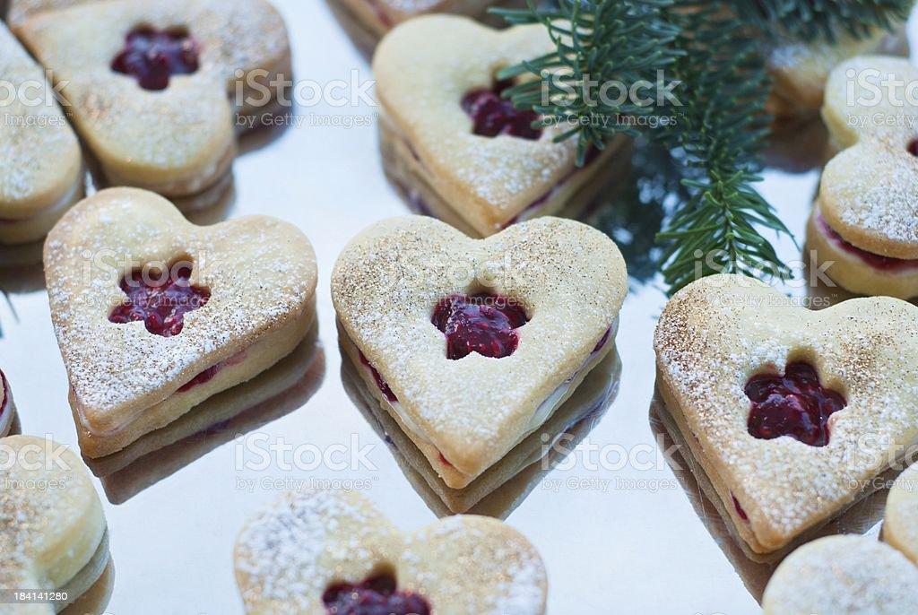 Homemade shortbread hearts stock photo