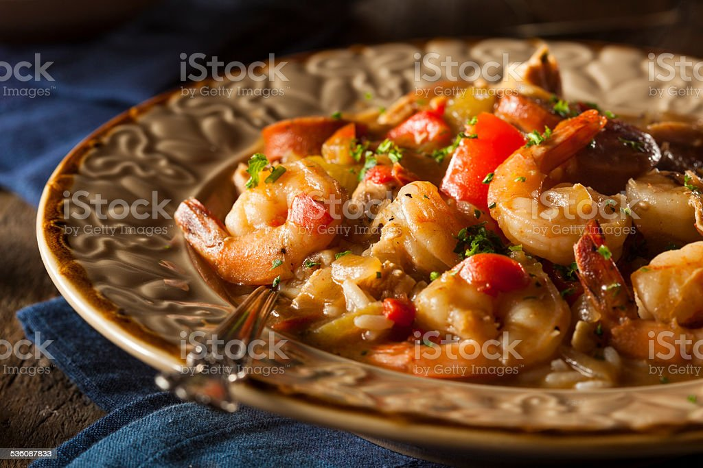 Homemade Shrimp and Sausage Cajun Gumbo stock photo