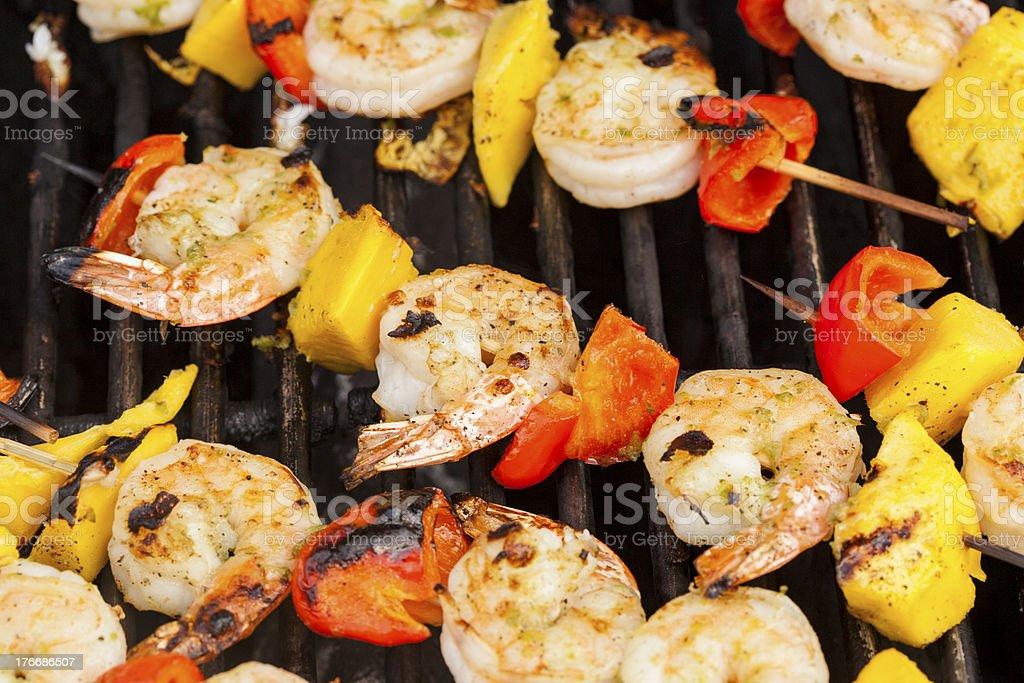 Homemade Shrimp Shish Kebab royalty-free stock photo