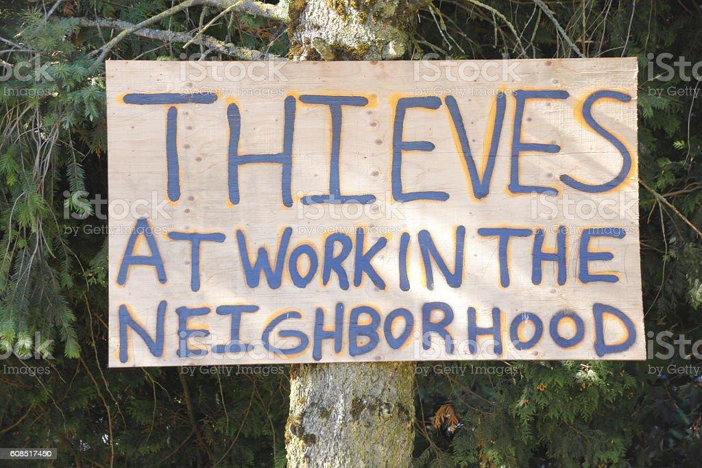 Homemade Sign and Neighborhood Theft stock photo