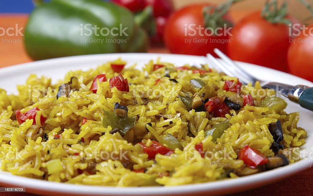Homemade simple and spicy hot rice stock photo