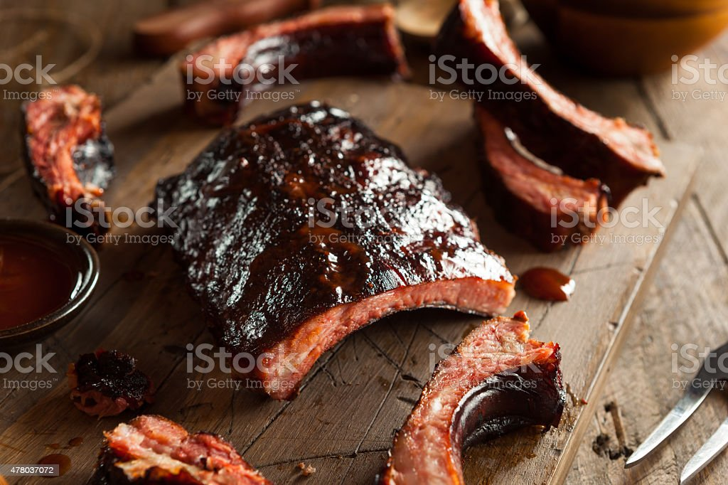 Homemade Smoked Barbecue Pork Ribs stock photo