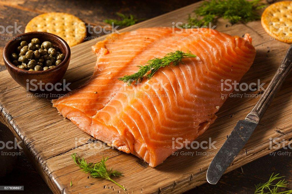 Homemade Smoked Salmon Appetizer stock photo