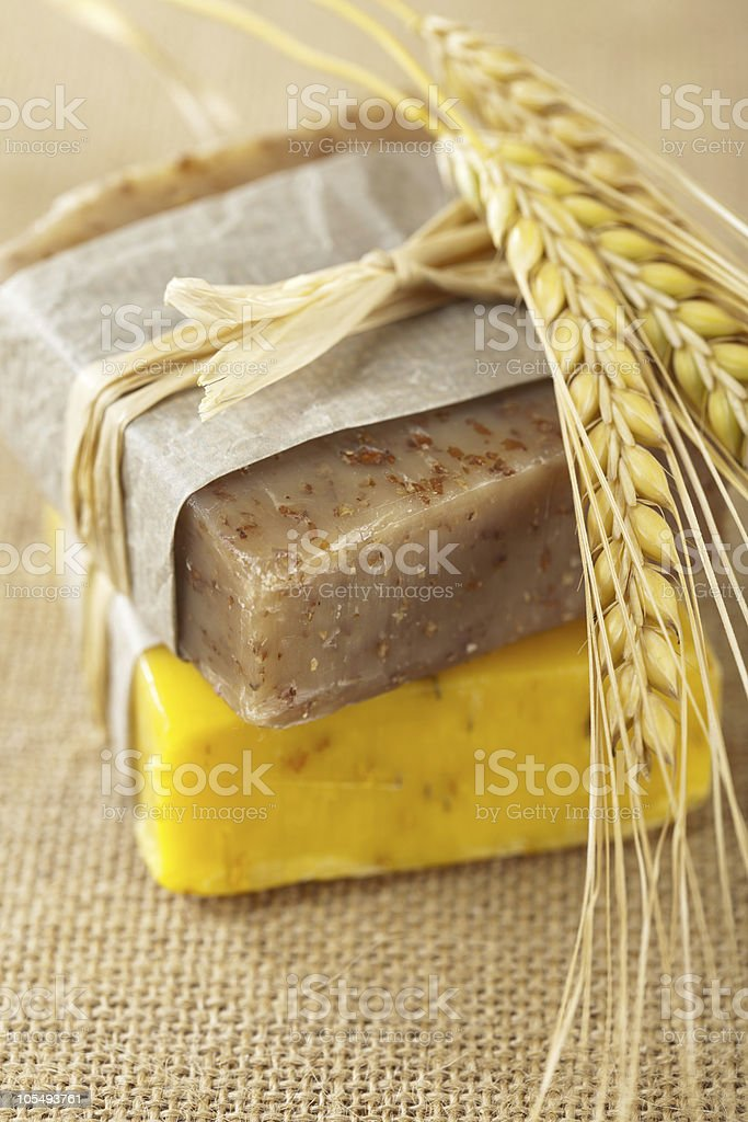 homemade soap bars with wheat spikelets, royalty-free stock photo