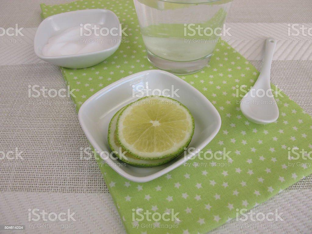 Homemade soda water with lemon stock photo