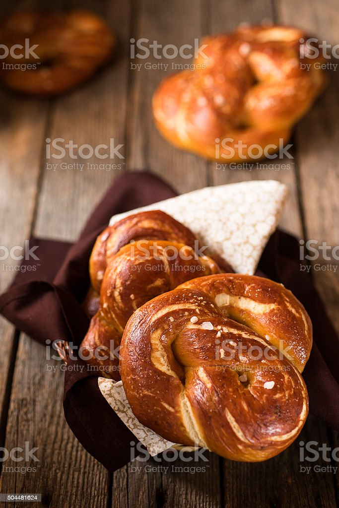 Homemade soft pretzels stock photo