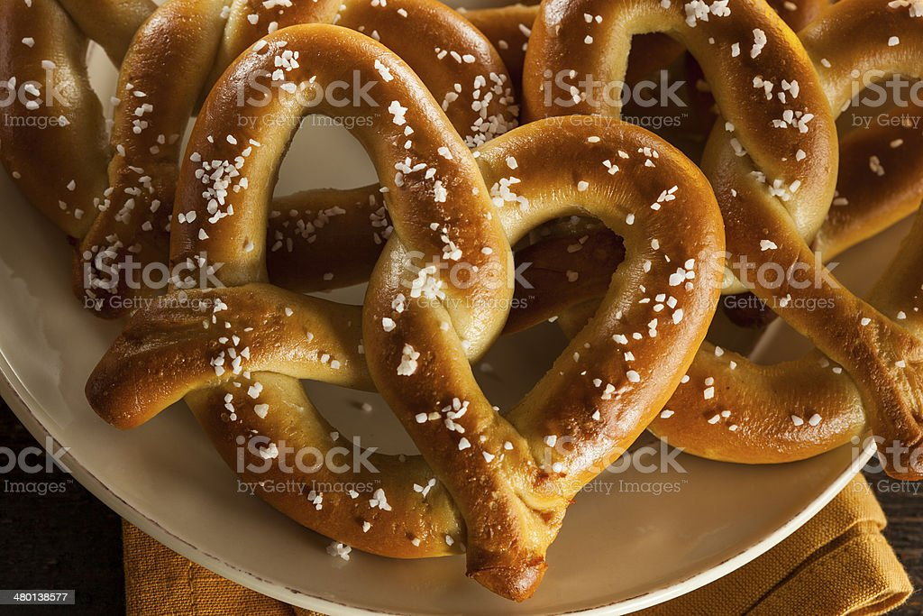 Homemade Soft Pretzels with Salt stock photo