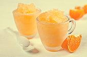 Homemade sorbet of orange
