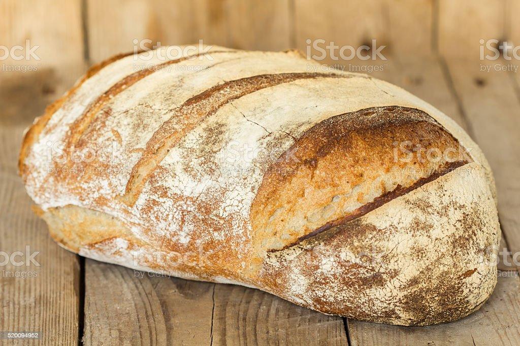 Homemade sourdough bread. Freshly baked until crispy. stock photo