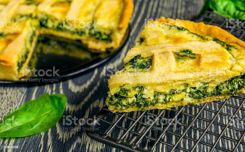 Homemade spinach quiche stock photo