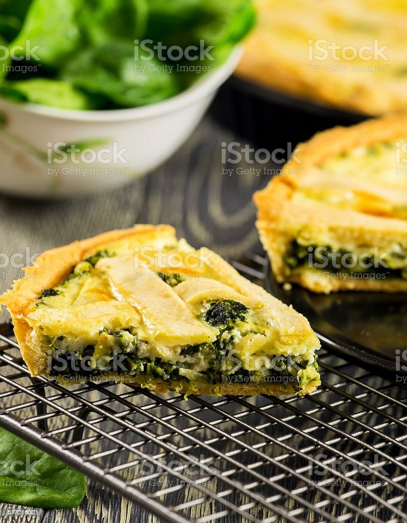 Homemade spinach quiche stock photo