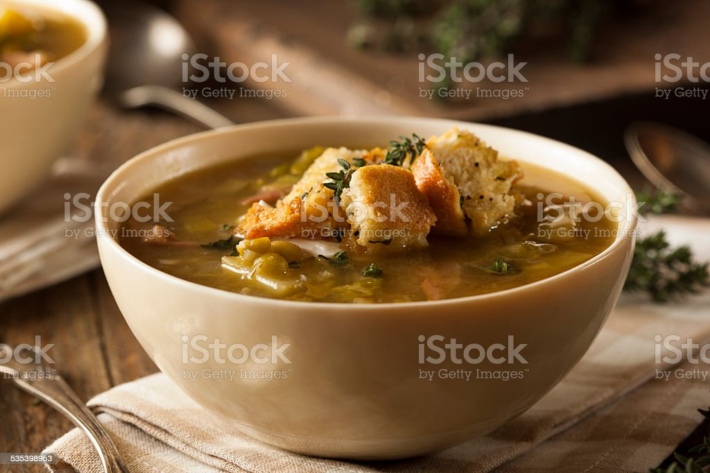 Homemade Split Pea Soup stock photo