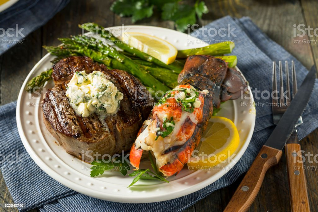 Homemade Steak and Lobster Surf n Turf stock photo