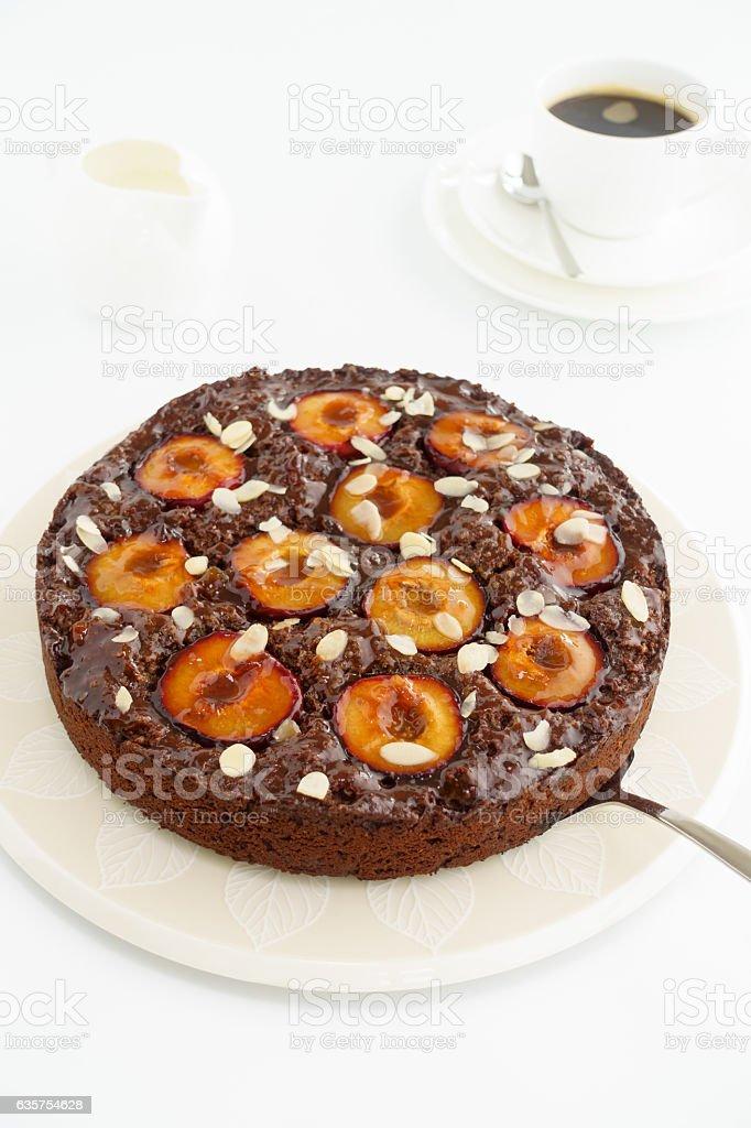 Homemade Sticky Chocolate Plum Cake stock photo