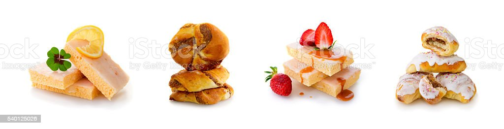 Homemade strawberry cake and freshly baked pastry isolated on white. stock photo
