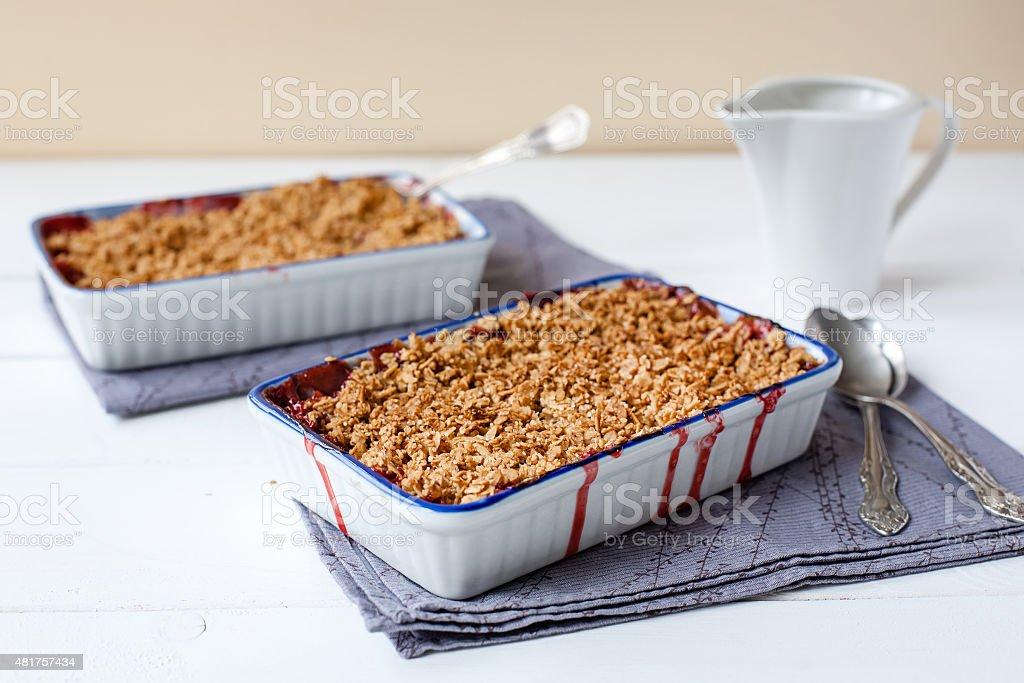 homemade strawberry crumble (healthy breakfast) stock photo