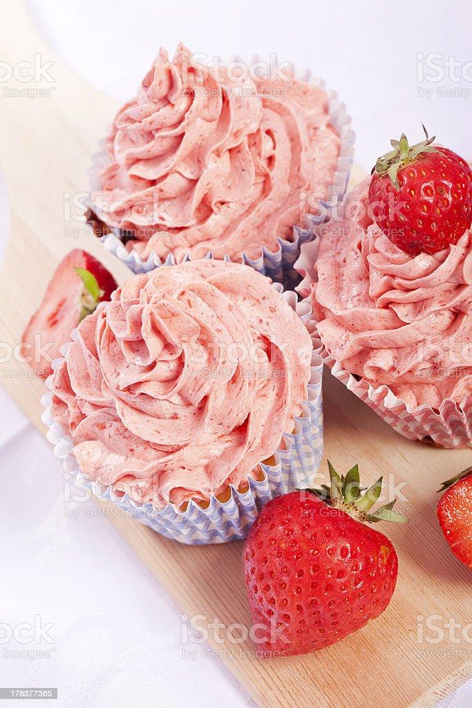 homemade strawberry cupcakes royalty-free stock photo