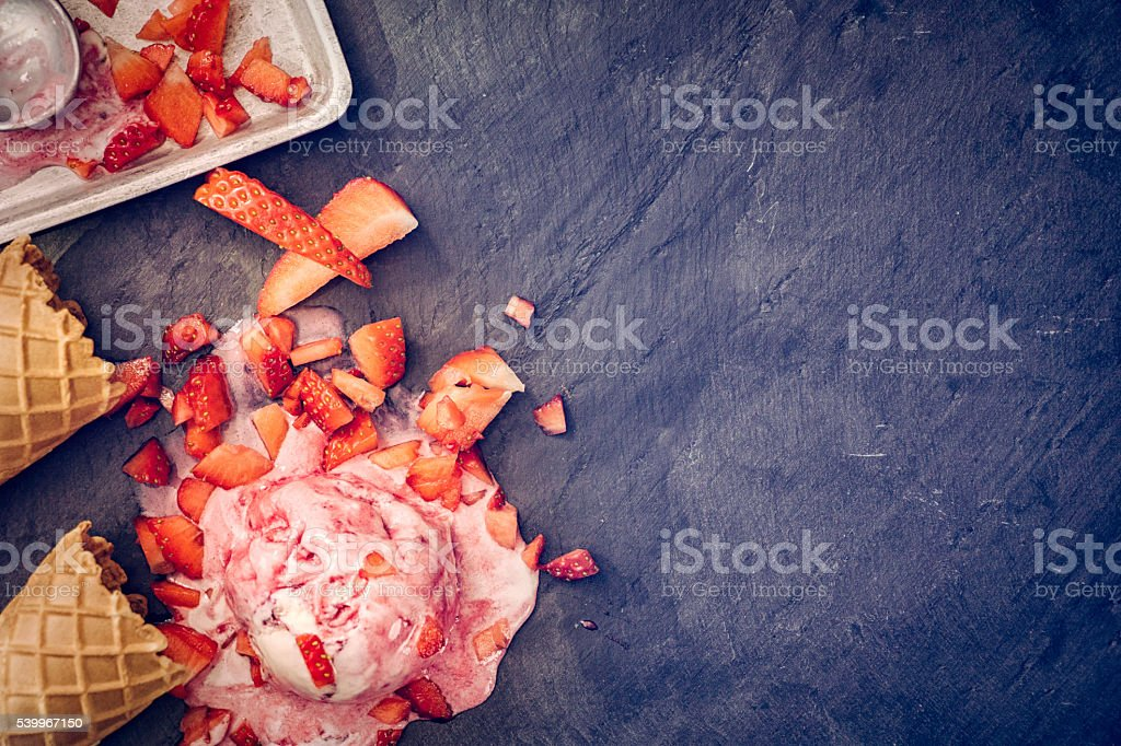 Homemade Strawberry Ice Cream Background stock photo