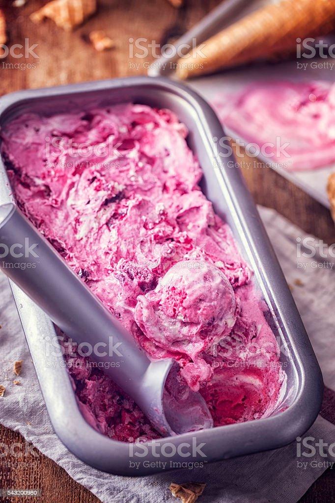 Homemade Strawberry Ice Cream stock photo
