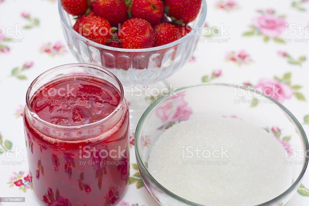 Homemade strawberry jam royalty-free stock photo