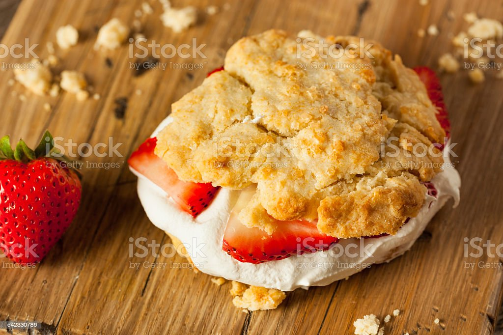 Homemade Strawberry Shortcake with Whipped Cream stock photo