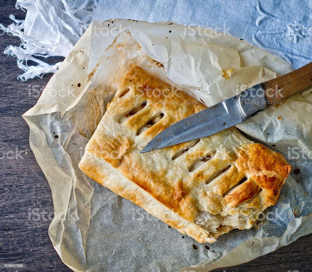 homemade strudel cake with apples and cinnamon stock photo