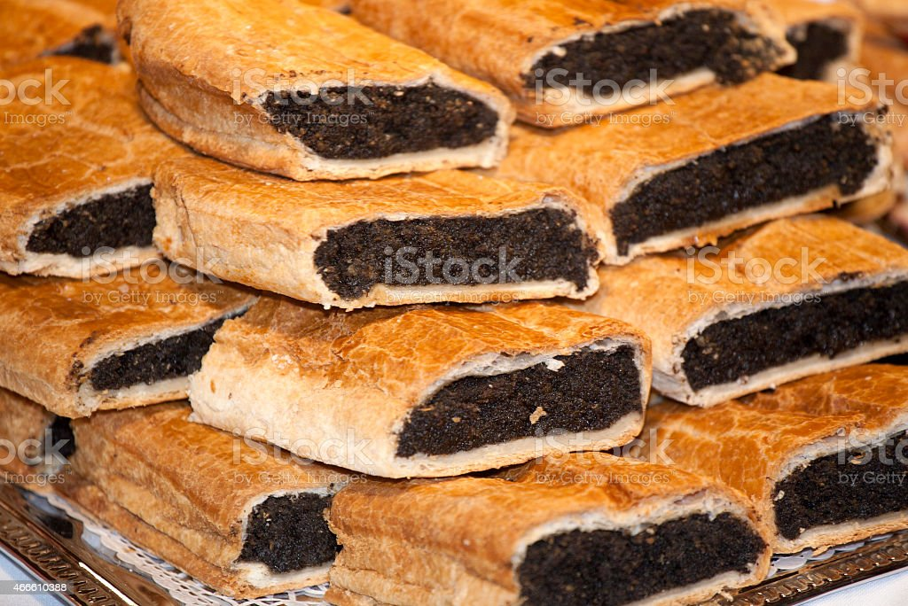 Homemade strudel filling with  fine poppy seeds cream stock photo