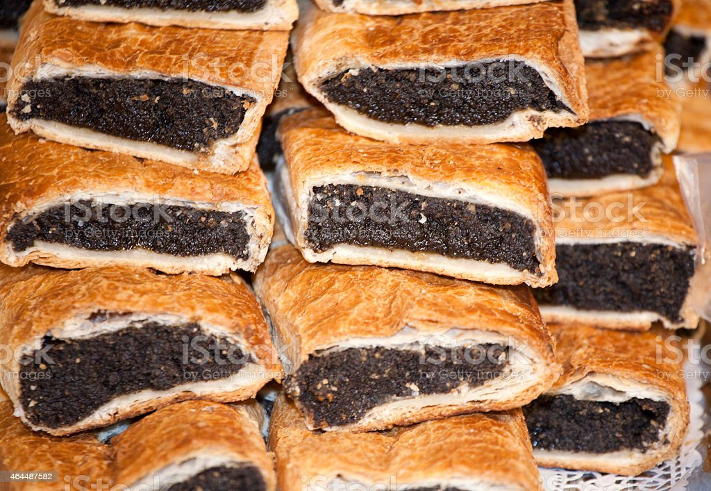 Homemade strudel filling with poppy seeds fine cream stock photo