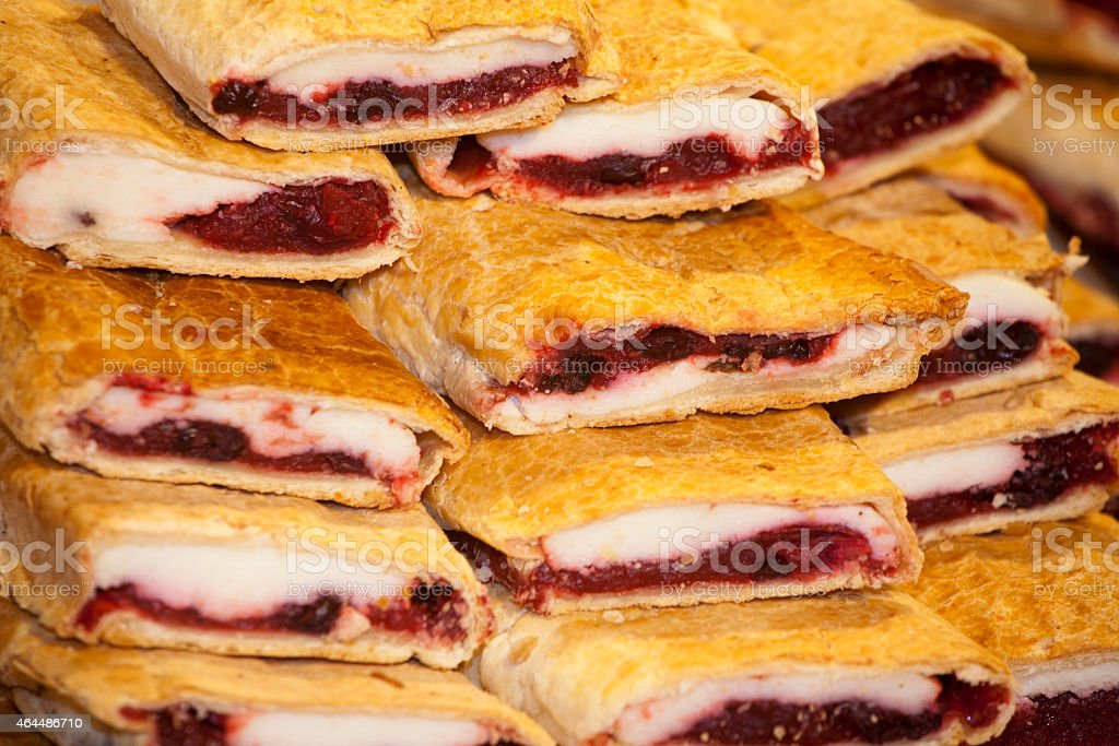 Homemade strudel filling with  sour cherry and cottage cheese cr stock photo