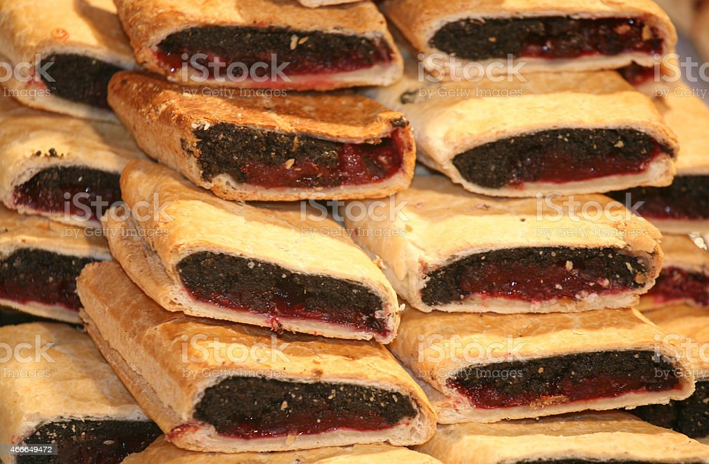 Homemade strudel filling with  sour cherry and poopy seeds cream stock photo