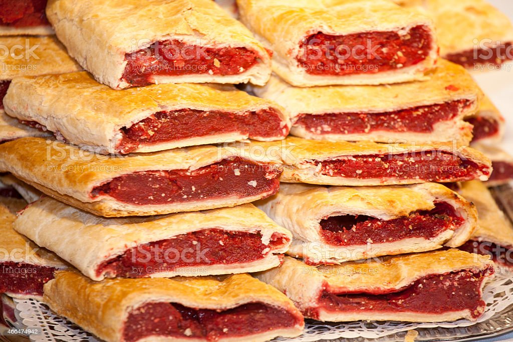 Homemade strudel filling with  sour cherry cream stock photo