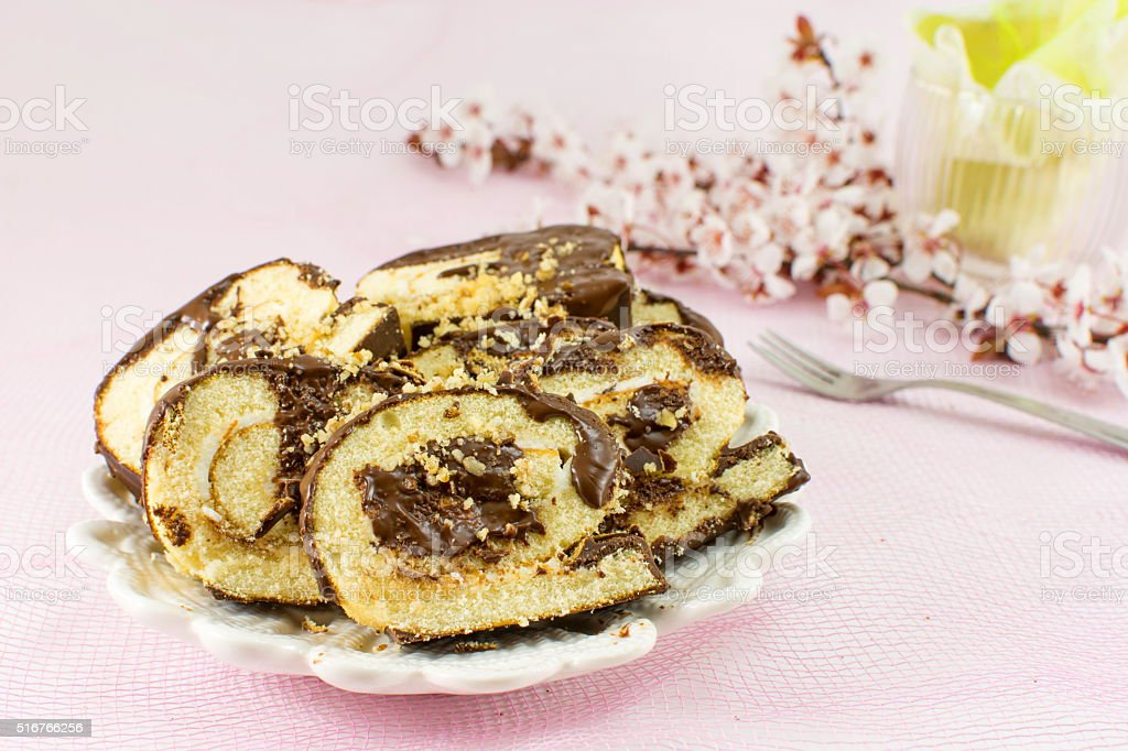Homemade strudel with cherry flowers stock photo