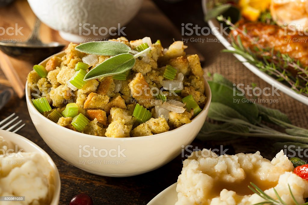 Homemade Stuffing for Thanksgiving stock photo