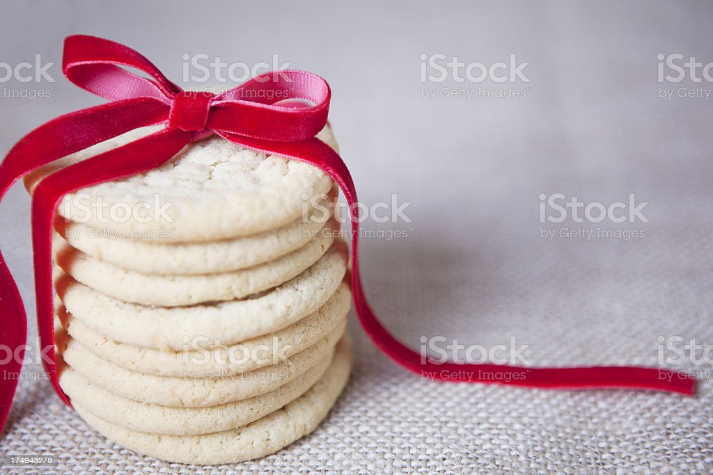 Homemade Sugar Cookies with Ribbon stock photo
