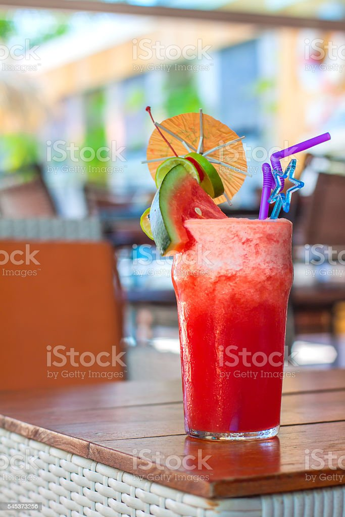 Homemade summer fruits smoothie stock photo
