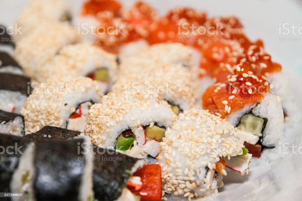 homemade sushi rolls close up stock photo