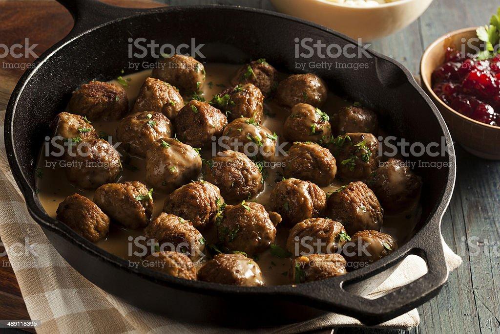 Homemade Swedish Meatballs with Cream Sauce stock photo